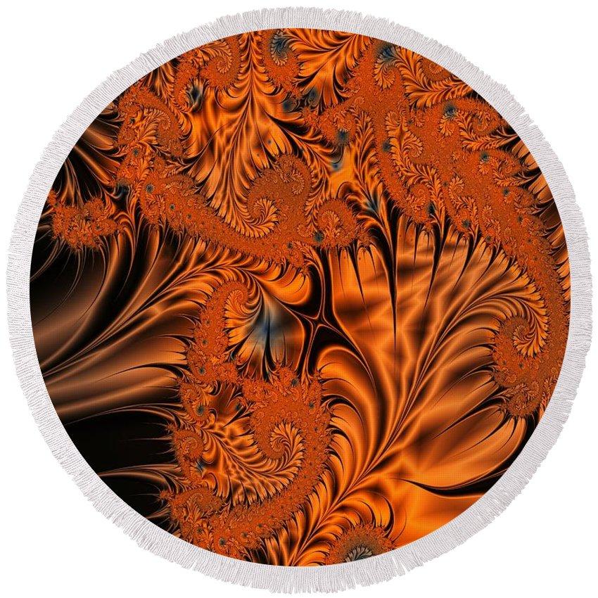 Silk Round Beach Towel featuring the digital art Silk in Orange by Ron Bissett