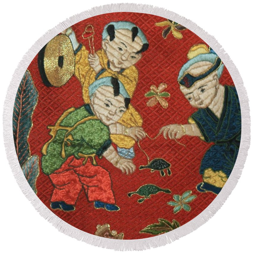 Children Playing Round Beach Towel featuring the photograph Silk Robe - Children Playing with Turtle by Carol Groenen