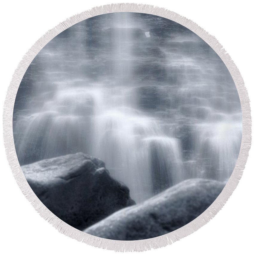 Silky Waterfall Round Beach Towel featuring the photograph Silky Waterfall by Dan Sproul