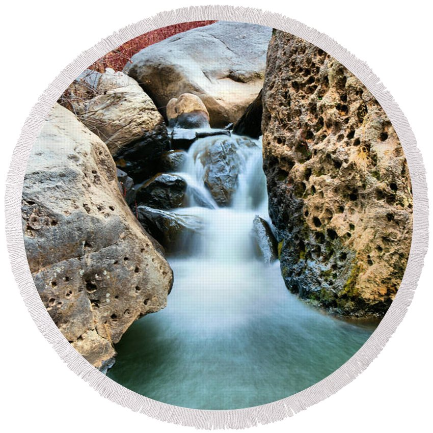 Water Round Beach Towel featuring the photograph Silky Waters Of Jemez Springs by Jeff Swan