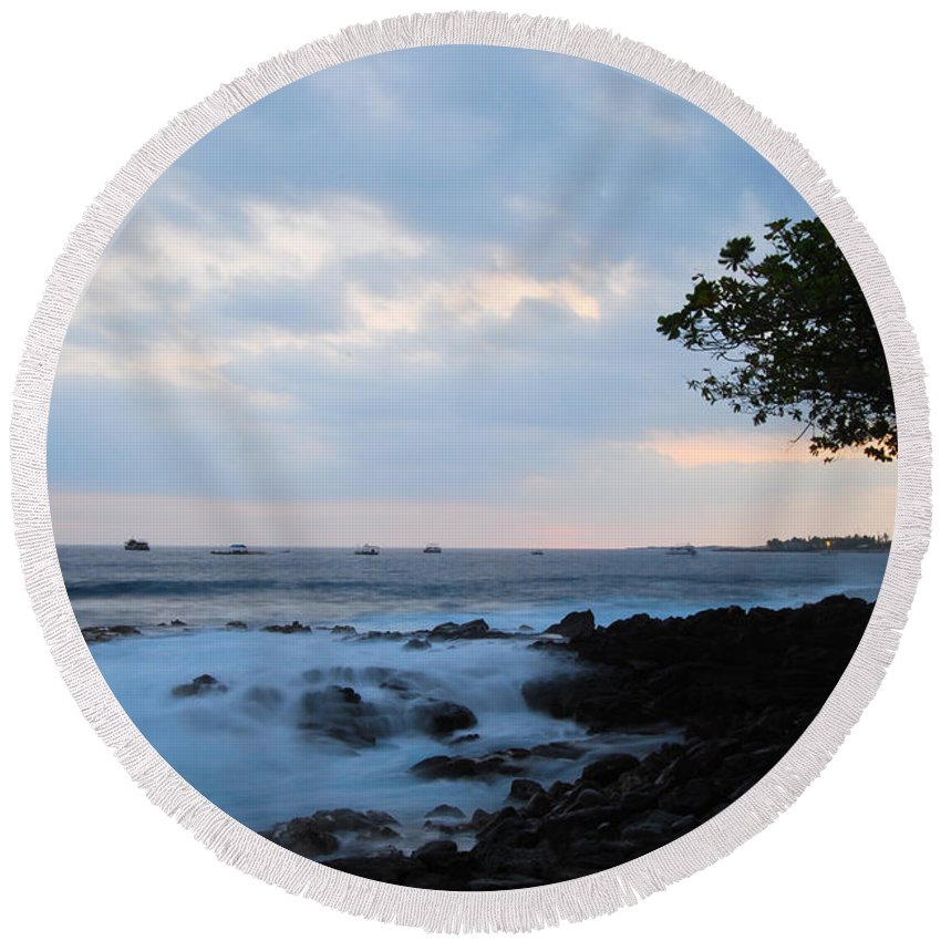 Nature Round Beach Towel featuring the photograph Silky Waves At Dusk by Paulette B Wright