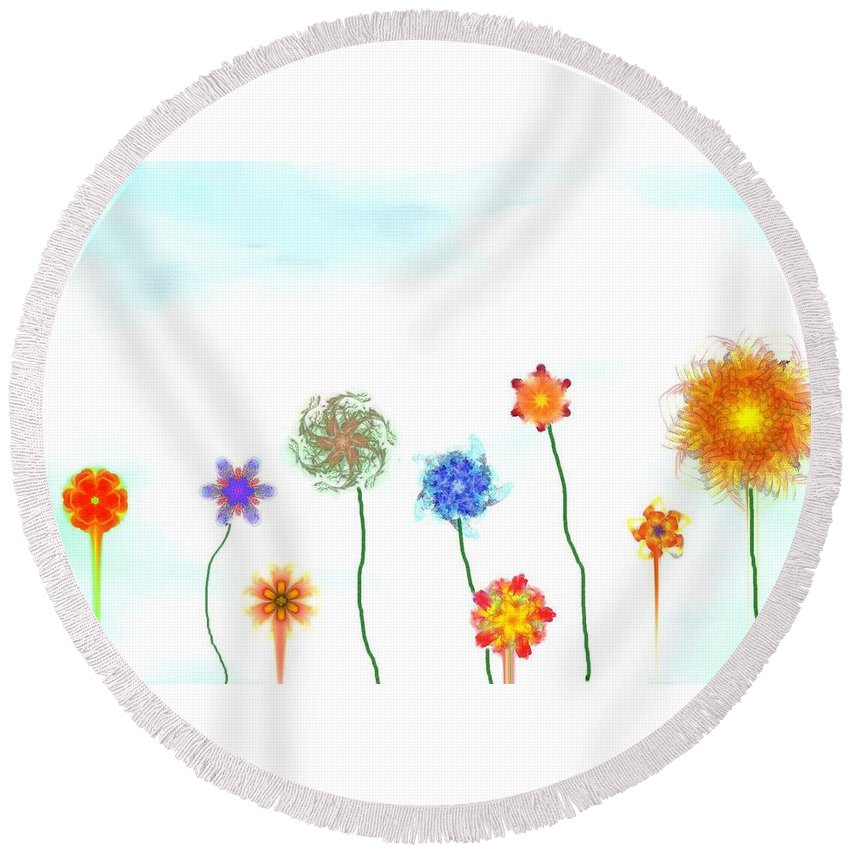 Fantasy Round Beach Towel featuring the digital art Silly Fractal Garden by David Lane