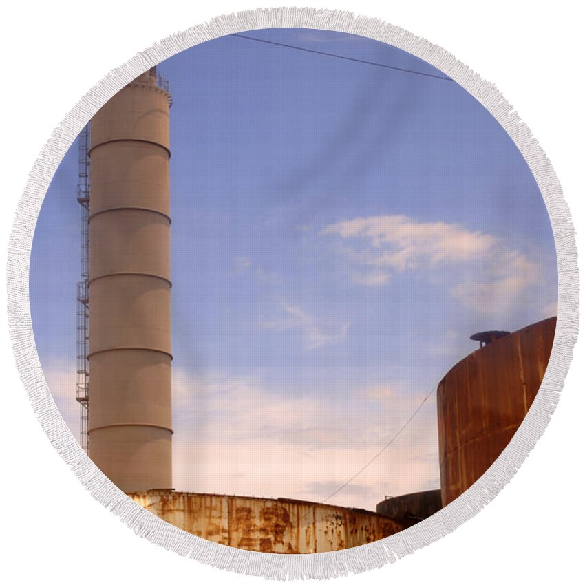 Urban Round Beach Towel featuring the photograph Silo Stack by Jill Reger