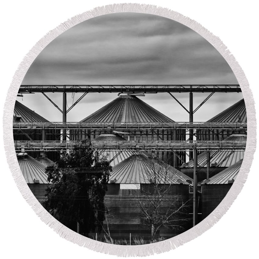 Agriculture Round Beach Towel featuring the photograph Silos by Barbara Matthews