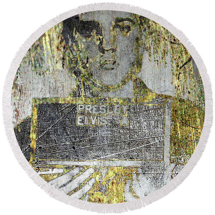 Metal Round Beach Towel featuring the mixed media Silver And Gold Elvis Presley Mug Shot by Tony Rubino