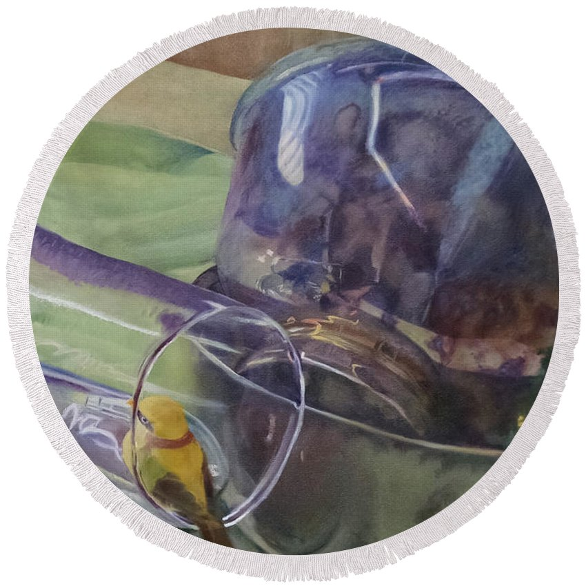 Bowls Round Beach Towel featuring the painting Silver Bowls by Maddie Morriss