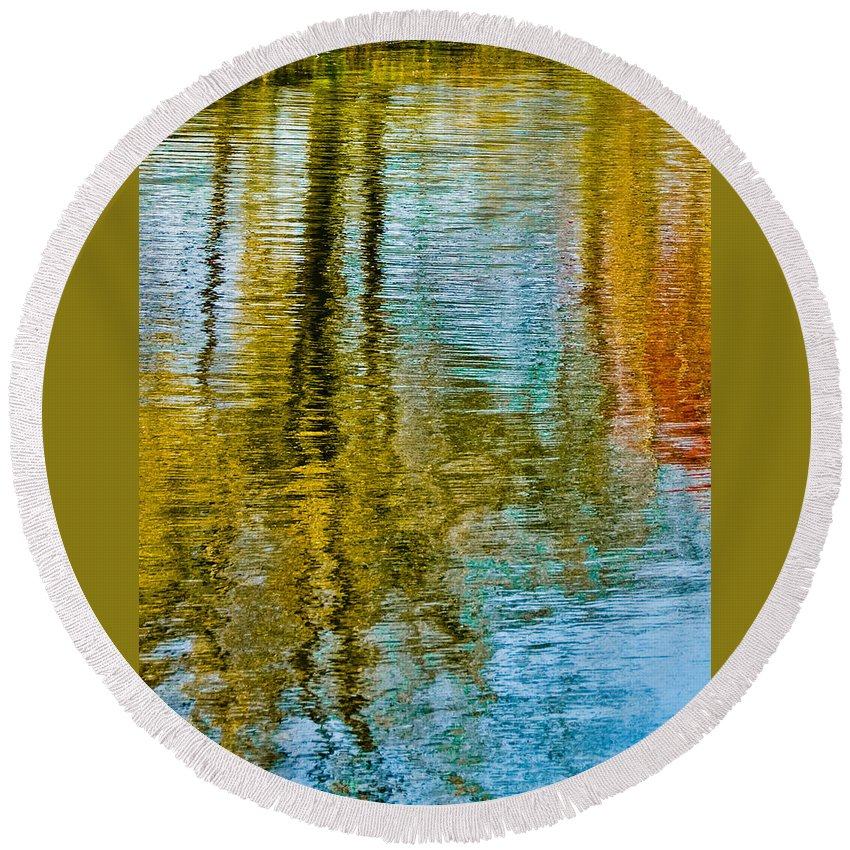 Silver Round Beach Towel featuring the photograph Silver Lake Autum Tree Reflections by Michael Bessler