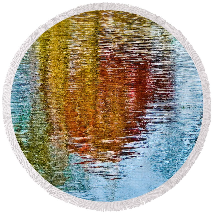 Silver Round Beach Towel featuring the photograph Silver Lake Autumn Reflections by Michael Bessler