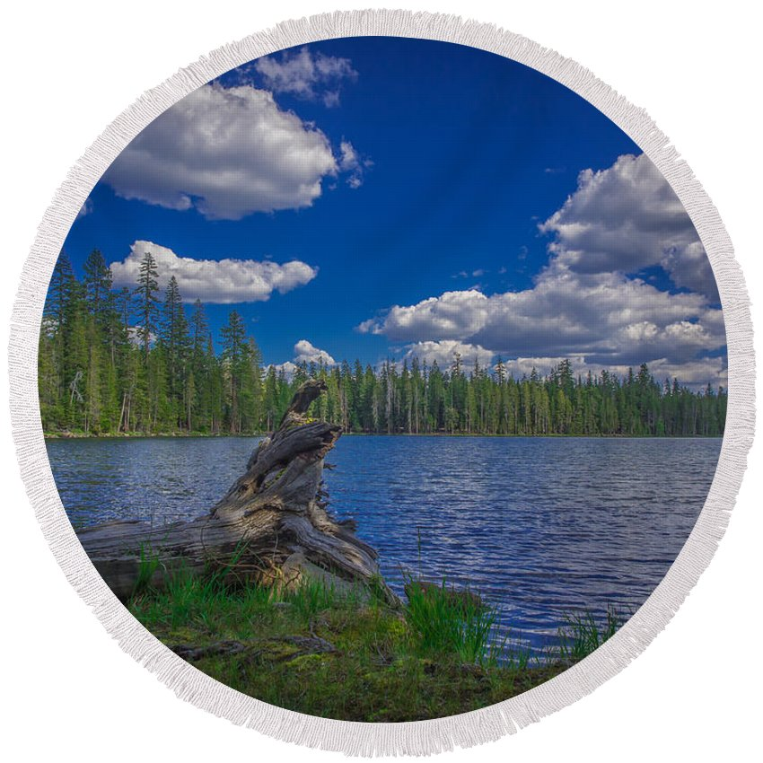 Beautiful Round Beach Towel featuring the photograph Silver Lake by Michele James