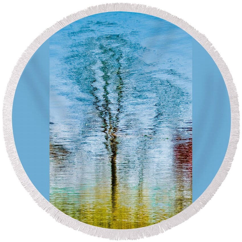 Silver Round Beach Towel featuring the photograph Silver Lake Tree Reflection by Michael Bessler