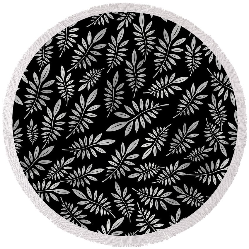 Pattern Round Beach Towel featuring the digital art Silver Leaf Pattern 2 by Stanley Wong