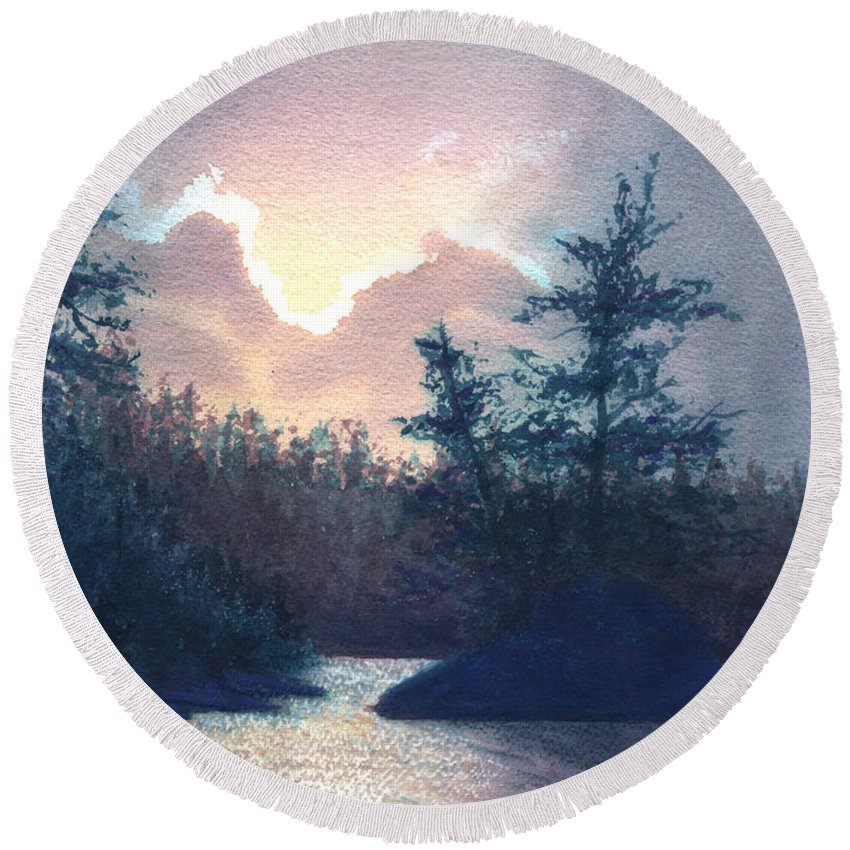 Landscape Round Beach Towel featuring the painting Silver Lining by Lynn Quinn