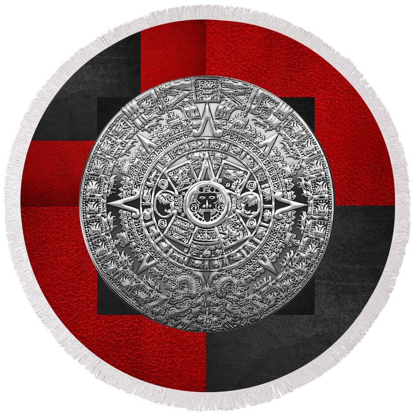 'treasures Of Mesoamerica' Collection By Serge Averbukh Round Beach Towel featuring the digital art Silver Mayan-aztec Calendar On Black And Red Leather by Serge Averbukh