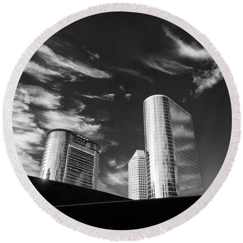 Houston Round Beach Towel featuring the photograph Silver Towers by Dave Bowman