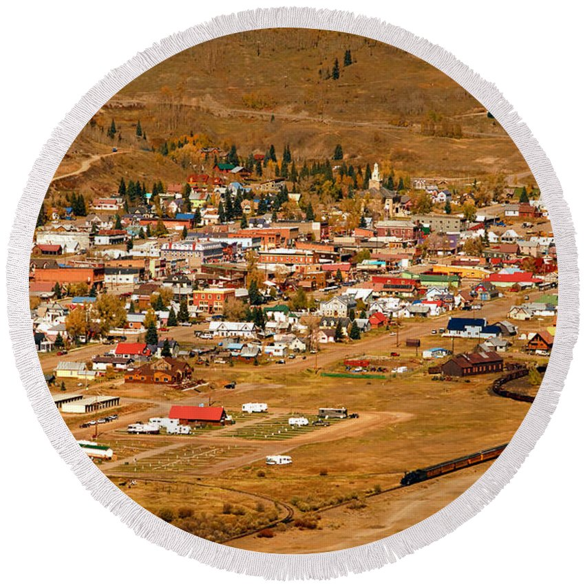Silverton Colorado Round Beach Towel featuring the photograph Silverton by David Lee Thompson