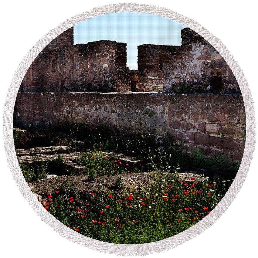Silves Round Beach Towel featuring the photograph Silves Castle by Louise Heusinkveld
