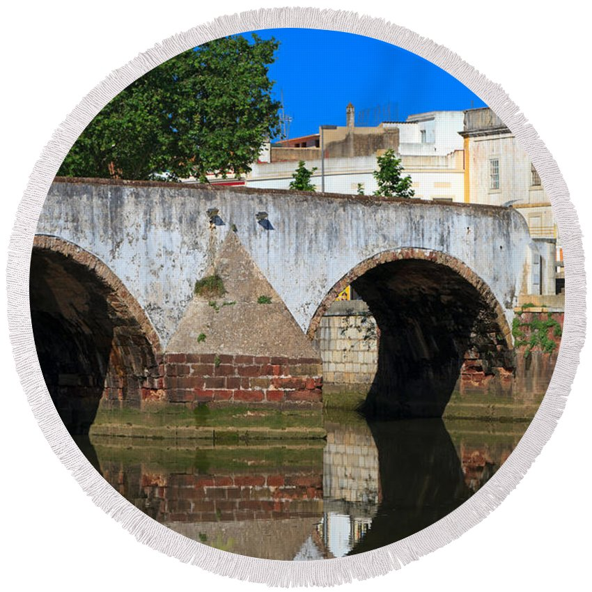 Ponte Romana Round Beach Towel featuring the photograph Silves Portugal by Louise Heusinkveld