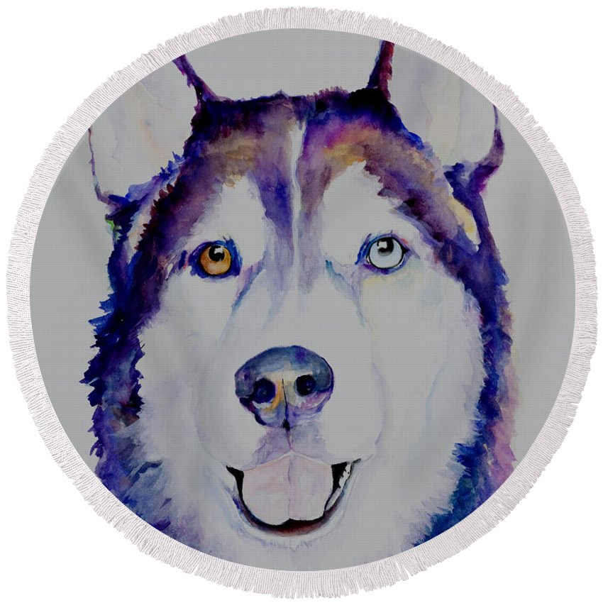 Siberian Husky Round Beach Towel featuring the painting Simba by Pat Saunders-White