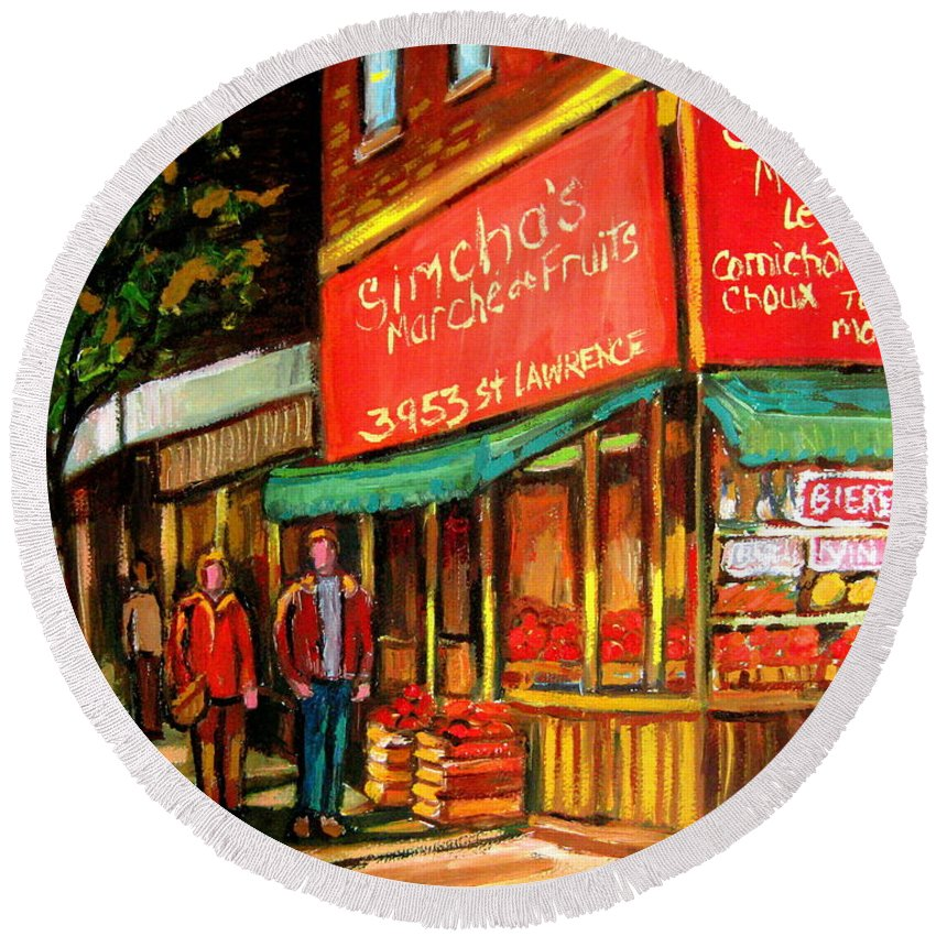 Simchas Fruit Store Round Beach Towel featuring the painting Simchas Fruit Store by Carole Spandau