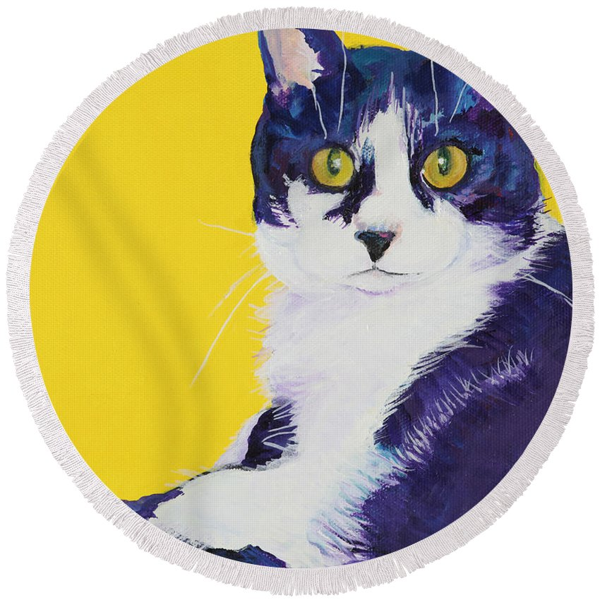 Tuxedo Cat Round Beach Towel featuring the painting Simon by Pat Saunders-White