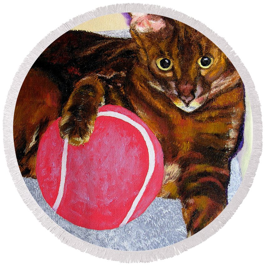Cat Round Beach Towel featuring the painting Simon by Stan Hamilton