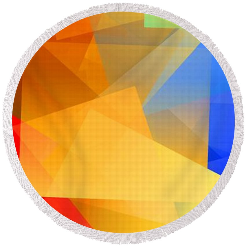 Abstract Round Beach Towel featuring the digital art Simple Cubism 15 by Chris Butler