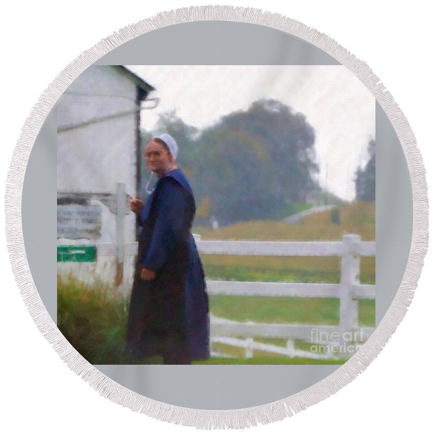 Amish Round Beach Towel featuring the photograph Simple Living by Debbi Granruth