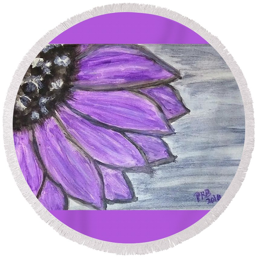 Watercolor Round Beach Towel featuring the painting Simple Purple by Pamula Reeves-Barker