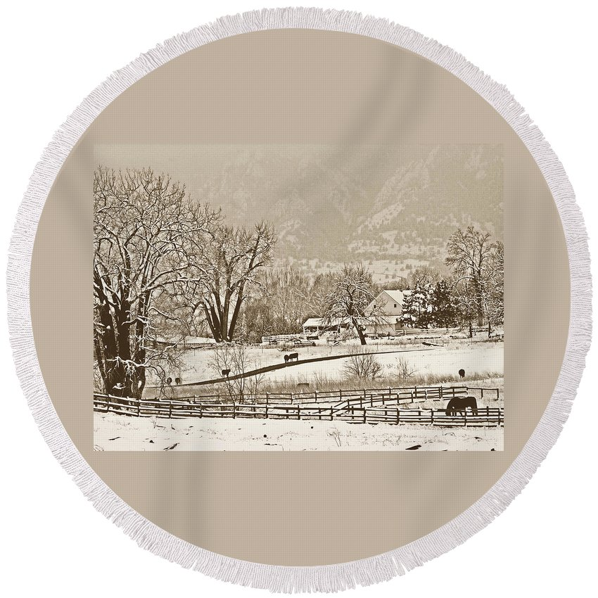 Landscape Round Beach Towel featuring the photograph Simpler Times by Marilyn Hunt