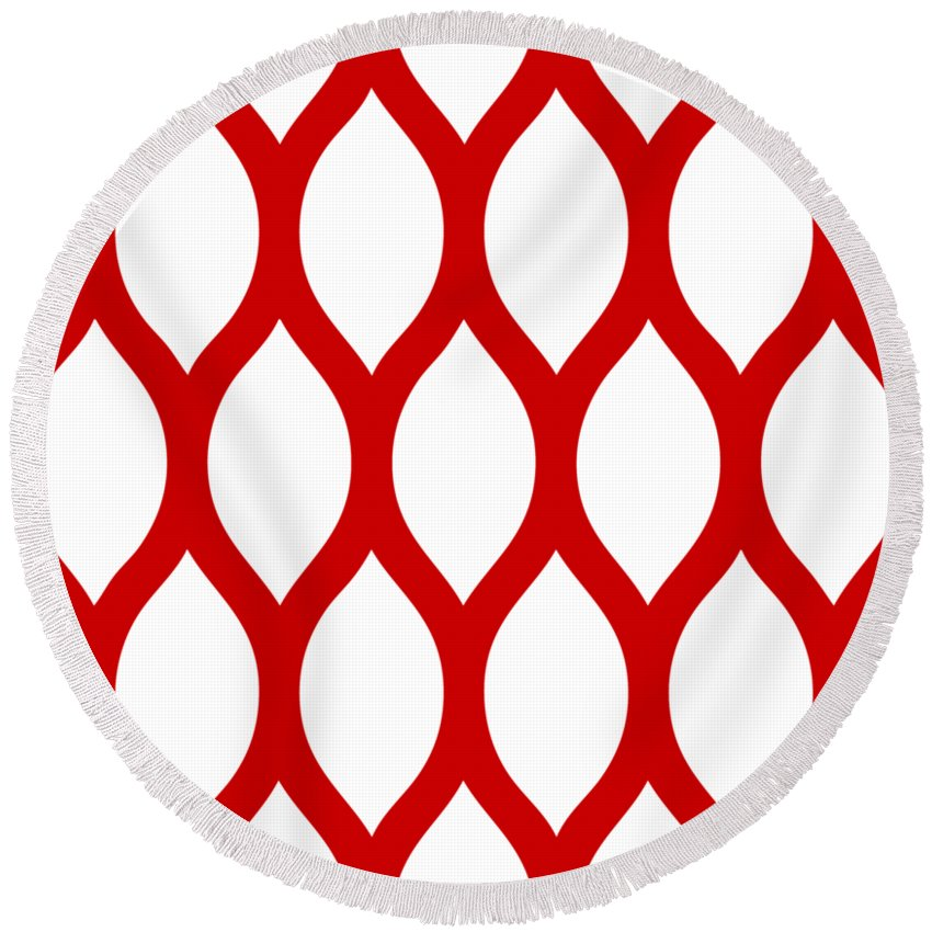 Simplified Latticework Round Beach Towel featuring the digital art Simplified Latticework With Border In Red by Custom Home Fashions