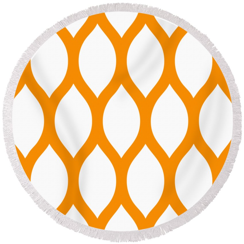 Simplified Latticework Round Beach Towel featuring the digital art Simplified Latticework With Border In Tangerine by Custom Home Fashions