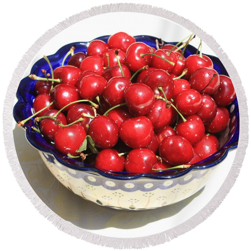 Cherries Round Beach Towel featuring the photograph Simply A Bowl Of Cherries by Carol Groenen