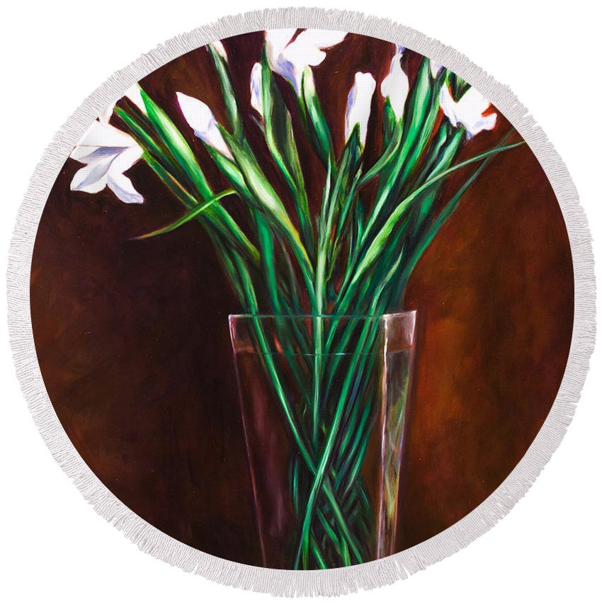 Iris Round Beach Towel featuring the painting Simply Iris by Shannon Grissom