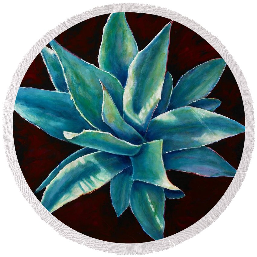 Agave Round Beach Towel featuring the painting Simply Succulent by Shannon Grissom