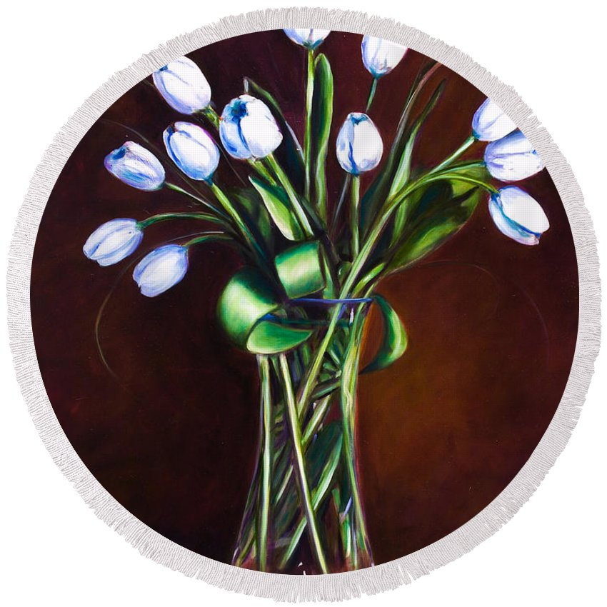 Shannon Grissom Round Beach Towel featuring the painting Simply Tulips by Shannon Grissom