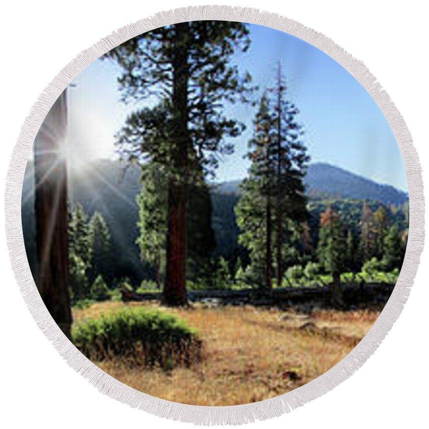 Sierra Round Beach Towel featuring the photograph Simpson Meadow - Sierra by Bruce Lemons