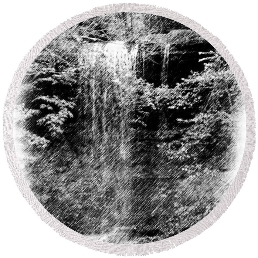 Digital Photograph Round Beach Towel featuring the photograph Simulated Pencil Drawing Tinker Falls. by David Lane