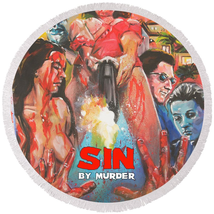 Movie Round Beach Towel featuring the painting Sin By Murder Poster B by Mark Baranowski