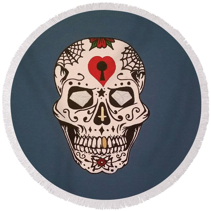 Death Round Beach Towel featuring the painting Sin Sugar Skull by Alexis DePetro