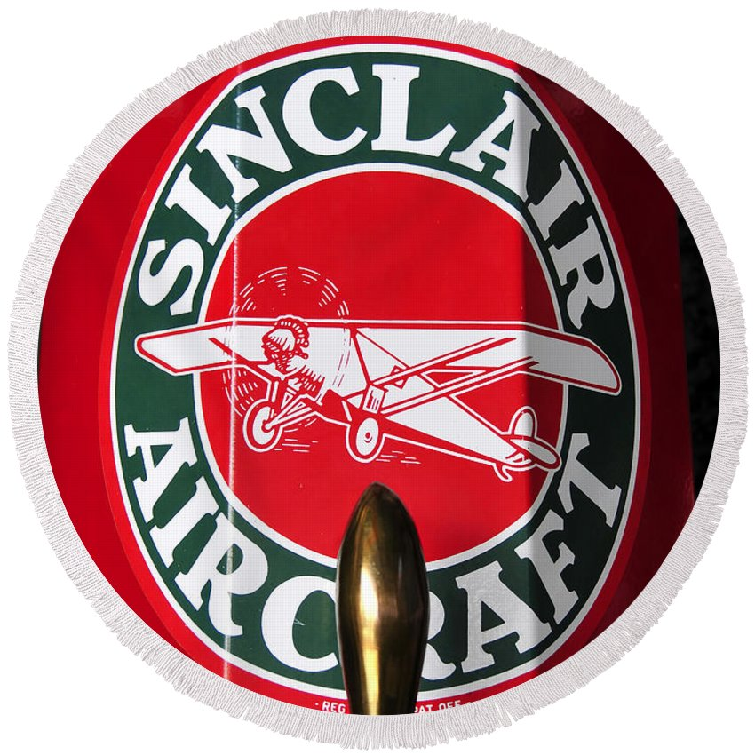 Fine Art Photography Round Beach Towel featuring the photograph Sinclair Aircraft Fuel Pump by David Lee Thompson