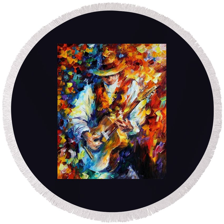 Afremov Round Beach Towel featuring the painting Sing My Guitar by Leonid Afremov