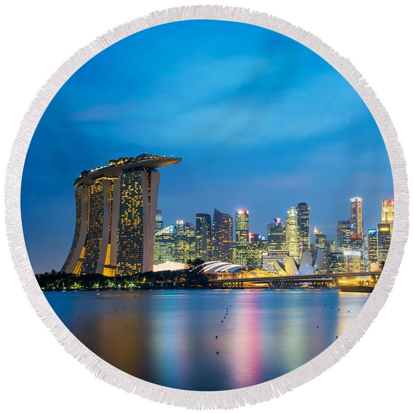 Singapore Round Beach Towel featuring the photograph Singapore Skyline by Delphimages Photo Creations