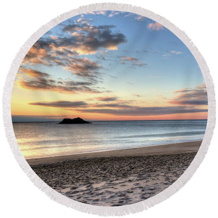 Singing Round Beach Towel featuring the photograph Singing Beach Manchester Ma Sunrise Island by Toby McGuire
