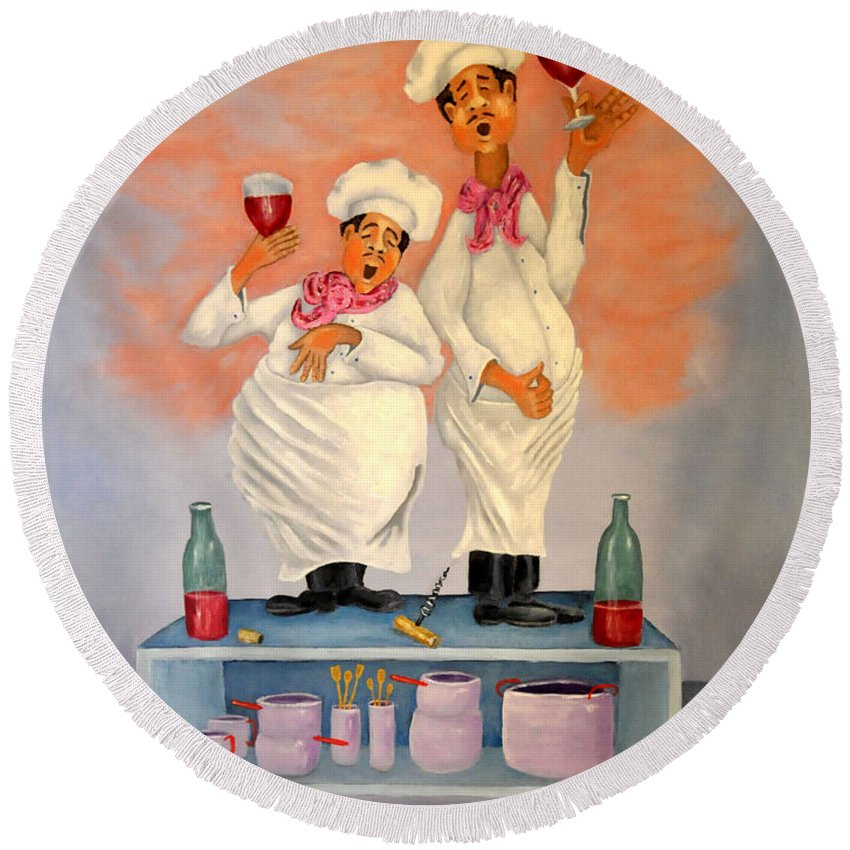 Singing Chefs Round Beach Towel featuring the painting Singing Chefs by Barney Napolske