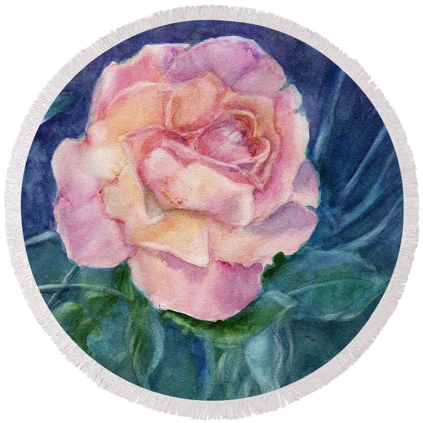 Watercolor Round Beach Towel featuring the painting Single Rose On Clayboard by Katherine Berlin