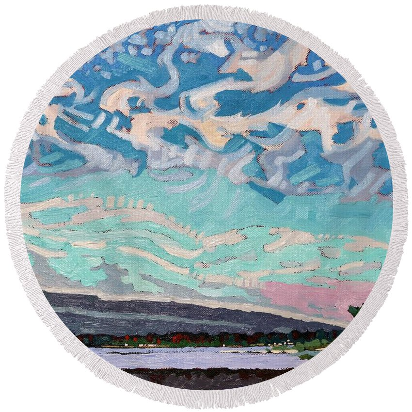 Deformation Round Beach Towel featuring the painting Singleton Storm by Phil Chadwick