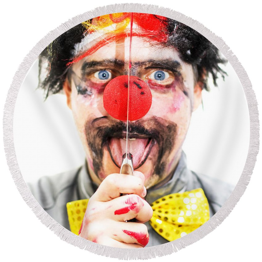 Aggression Round Beach Towel featuring the photograph Sinister Clown by Jorgo Photography - Wall Art Gallery