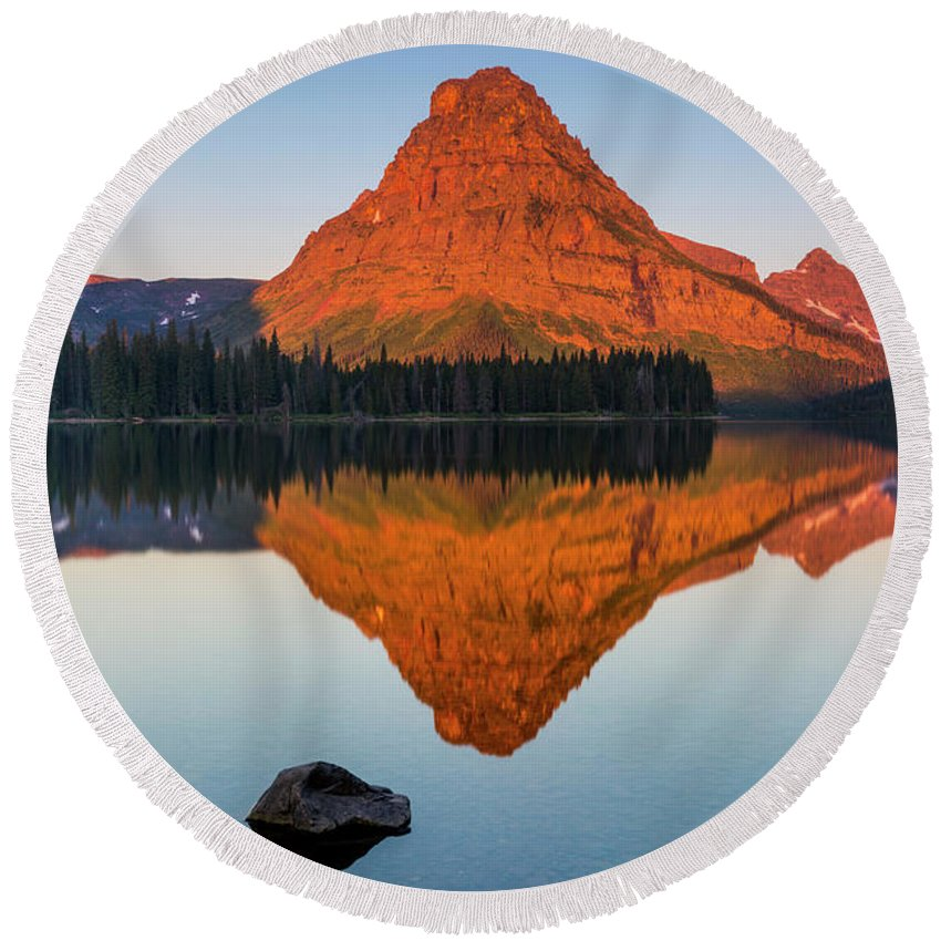 Gnp Round Beach Towel featuring the photograph Sinopah Mountain Reflected In Two Medicine Lake At Sunrise by Craig Tata