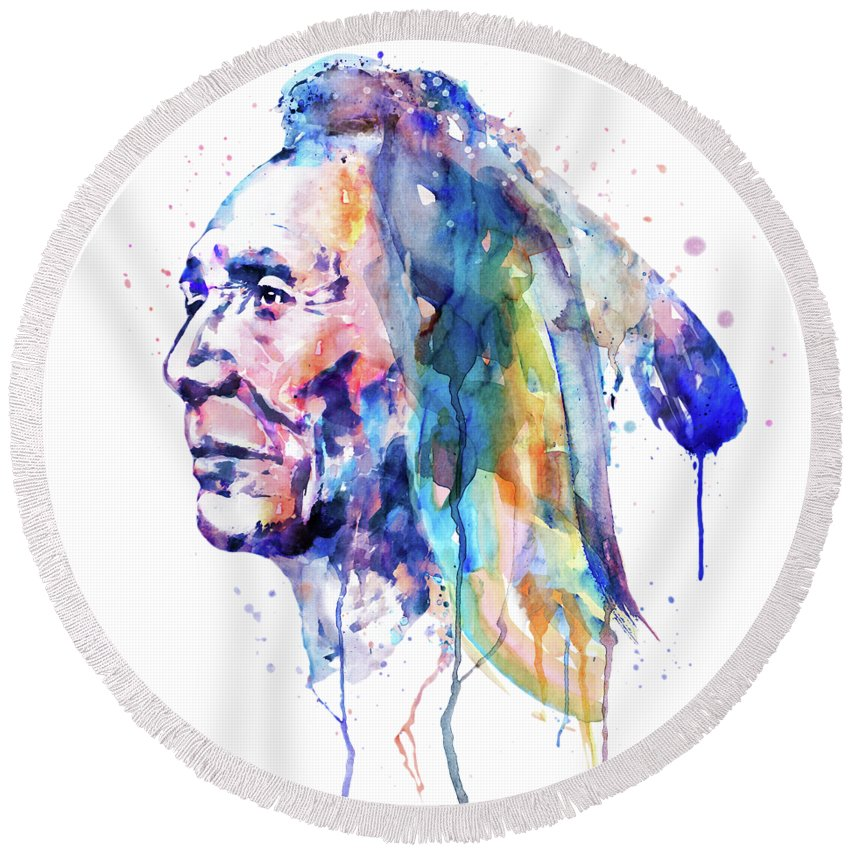 Sioux Round Beach Towel featuring the painting Sioux Warrior Watercolor by Marian Voicu