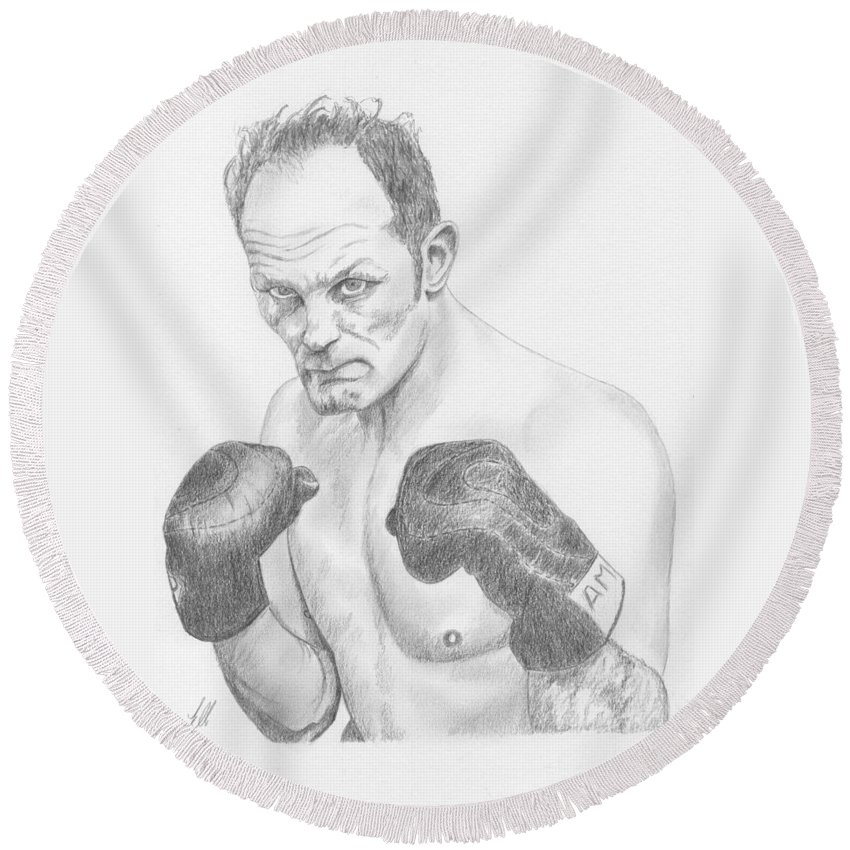 Sir Henry Cooper Obe - 1934-2011 Was An English Heavyweight Boxer Known For The Sheer Power Of His Left Hook (enry's Ammer). He Held The British Round Beach Towel featuring the drawing Sir Henry Cooper Obe by Keith Miller